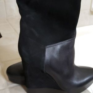 Vince leather/swede knew boots (Black)